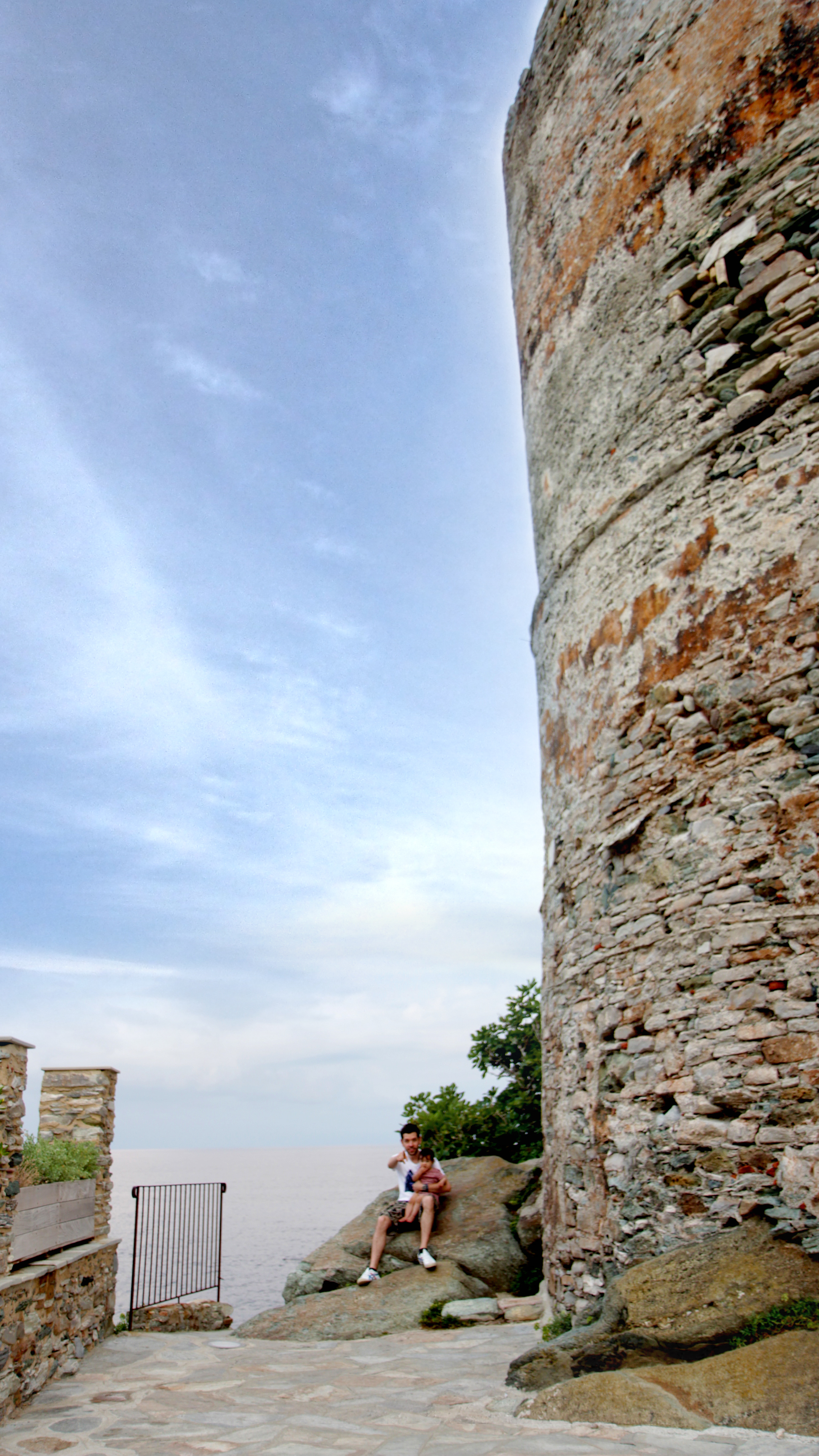 Beside a Genoese Tower at the harbour in Erbalunga