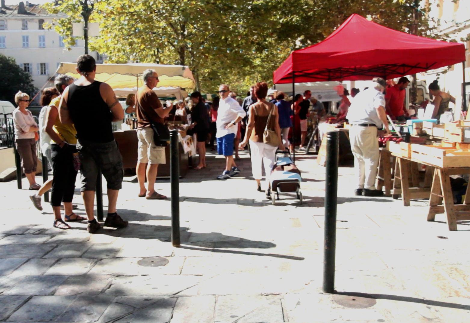 The market crowd at the Place St Nicolas in Bastia.